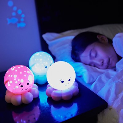 Twinkles To Go Octo magic LED night light - pink salmon - by cloud b